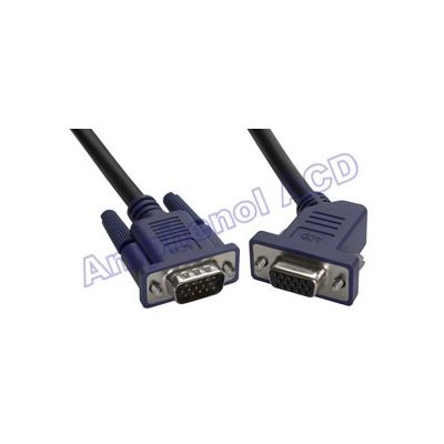 VGA / SVGA 15-pin D-Sub Monitor Extension Cable - HD15 Male  /  45° HD15 Female
