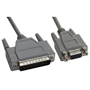 DB25 Male to DB9 Female Null Modem Cable - Double Shielded - Full Handshaking