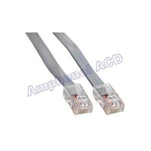 Flat Silver Satin Modular Straight-Thru Cables,  RJ45  /  RJ45