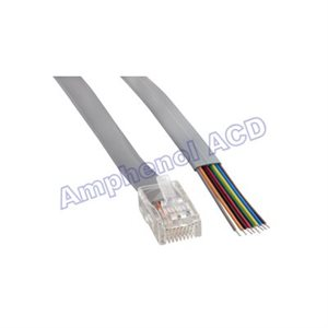 Flat Silver Satin Modular Cables Plug to Tinned End, RJ45 (8 conductor)