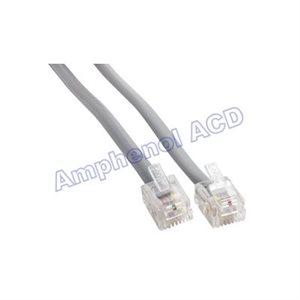 Flat Silver Satin Modular Crossed wiring Cable, RJ11  /  RJ11